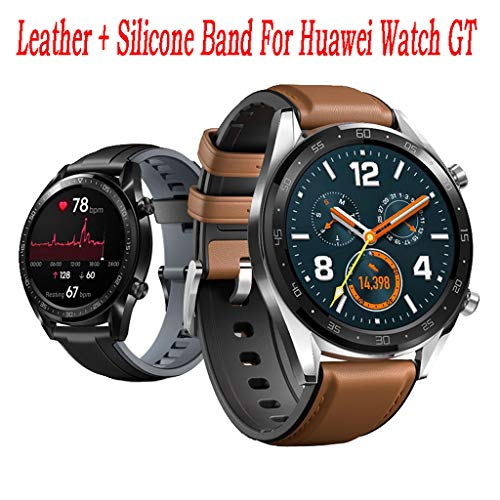 Sodoop Replacement Leather Band Compatible for Huawei Watch GT/Active 46mm, Smart Watches Leather +Silicone Double-Deck Wrist Bands Strap Compatible for Huawei Watch GT/Active
