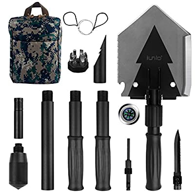 Iunio Military Portable Folding Shovel [38 inch Length] and Pickax with Tactical Waist Pack all-in-1 Army Surplus Multitool Tactical Spade for Camping Hiking Backpacking Entrenching Tool Car Emergency by Iunio
