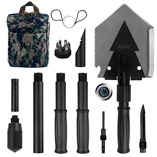 Snow Pack Shovel (Iunio Military Portable Folding Shovel [38 inch Length] and Pickax with Tactical Waist Pack all-in-1 Army Surplus Multitool Tactical Spade for Camping Hiking Backpacking Entrenching Tool Car Emergency)