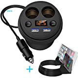 Car Cup Charger, APPHOME 2 USB Ports Car Charger 12V/24V Car Power Adapter with 2 Socket Cigarette Lighter Splitter + LED Voltage Display + Phone Holder for iPhone iPad, Android Samsung, GPS, Dashcam