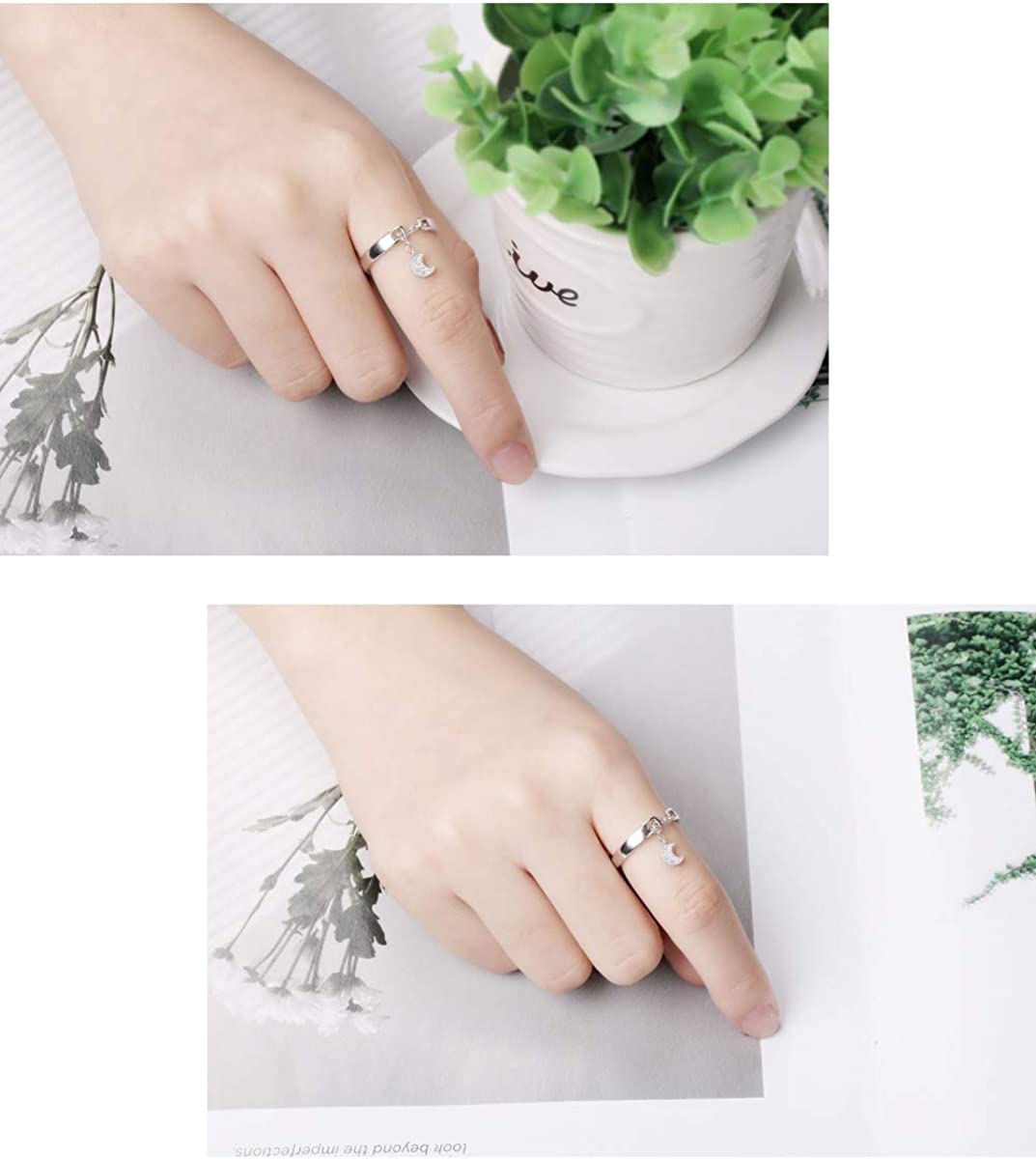 VEINTI+1 Creative S925 Sterling Silver Star Moon Design with Chain Open Ring for Women//Girls