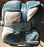 Monte and Jardin Velvet Sherpa Queen Aqua Blue Blanket Super Size 98 by 92 inches over 10,000 square inches