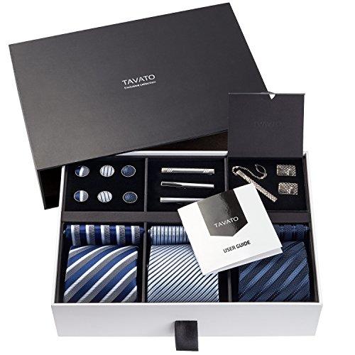 Premium Men's Gift Tie Set Superior Silky Necktie Set Matching Pocket Squares Tie Clips Cufflinks In Deluxe Box Unique Neckties Gift For Him Valentine's Birthday Anniversary Ties Gift Idea For Men