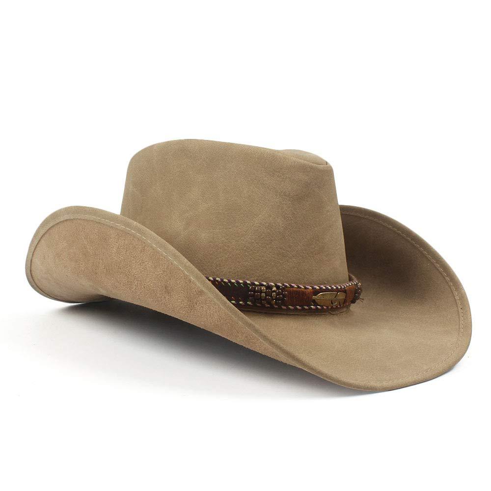 Pelle 57-59 Naturale HXGAZXJQ Nuovo Marca Pelle Western Cowboy Cowgirl Cappello da Viaggio Visiera Cappelli Uomo Donna Vintage cap