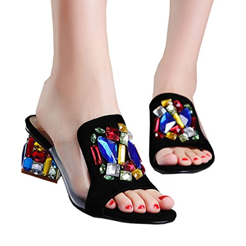 DFB Leather Rhinestones Sandals Women Summer Fight Color Rough Heels Slippers For Women,Black-39