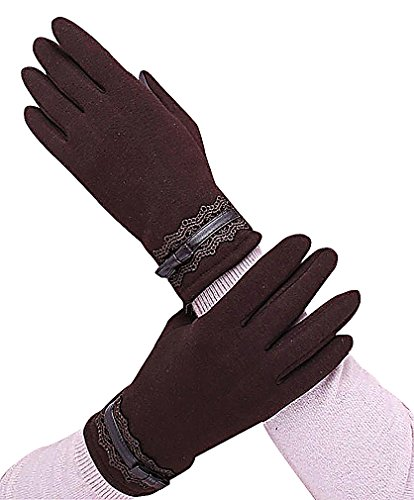 Maze, Women Cotton Floral Lace Trim PU Leather Bow Tie Belted Warm Gloves, (Belted Leather Tie)