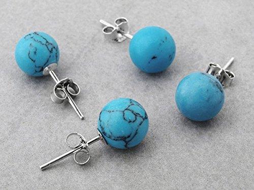 Ecloud Shop 2 Paar Mode 925 silberne runde Türkis Bolzen Schöne Ohrringe