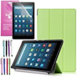 Amazon Fire HD 8 Case (2017 7th Gen), EpicGadget(TM) Smart Cover Auto Sleep / Wake Premium Leather Folding Folio Case For Fire HD 8, 8 HD Display Tablet + Fire HD 8 Screen Protector (Green)