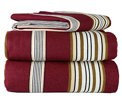 Piece 100% Soft Flannel Cotton Bed Sheet Set - Queen/King Size - Patterned Bedding Covers - 1 Flat Sheet, 1 Fitted Sheet, 2 Pillow Cases - Fade Resistant Designs, (Burgundy Stripe, king)
