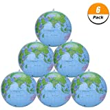Loving Home 6 Pack 12 Inch Inflatable Globe Inflatable World Globe Beach Balls Globe for Educational Beach Playing, Colorful