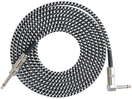 Peanutaor Mono Jack Guitare C/âble Audio M/âle /à M/âle C/âble Fil Cordon /À Tricoter Cuivre 6.35mm Droite Plug pour Instruments /Électriques