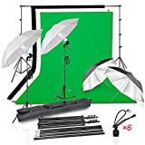 Emart Photography Photo Video Portrait Studio 1050W Day Light Continuous Umbrella Lighting Kit, (2)Translucent White & Black/Silver Umbrellas, 8.5x10Ft Background Support System, (3) Muslin Backdrop