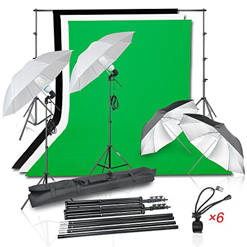 Emart Photography Photo Video Portrait Studio 1050W Day Light Continuous Umbrella Lighting Kit, (2)Translucent White & Black/Silver Umbrellas, 8.5x10Ft Background Support System, (3) Muslin Backdrop (Impact Background System Kit)