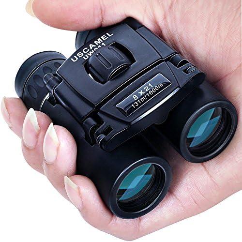 USCAMEL Folding Pocket Binoculars Compact Travel Mini Telescope HD Bak4 Optics Lenes Easy Focus 8×21 Colour Black