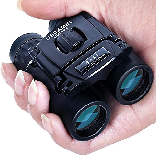 USCAMEL Folding Pocket Binoculars Compact Travel Mini Telescope HD Bak4 Optics Lenes Easy Focus 8x21 Colour Black (Easy Halloween Party Drinks)