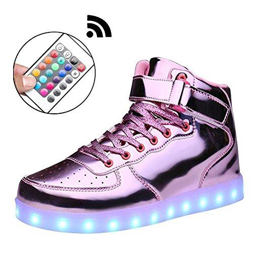 Mingyuming MINGYU Jungen Mädchen Kinder Mit Fernbedienung 11 Farben LED-Licht Schuhe High Top Blinkende Wiederaufladbare Sport Tanzen Turnschuhe Für Party und Weihnachten Beste Geschenk Pink2