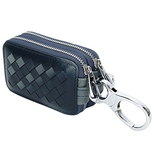 Esdrem Unisex Premium Lambskin Leather Key Case Holder Double Zipper Car Keychain Wallet Coin Purse (Navy Blue) ()
