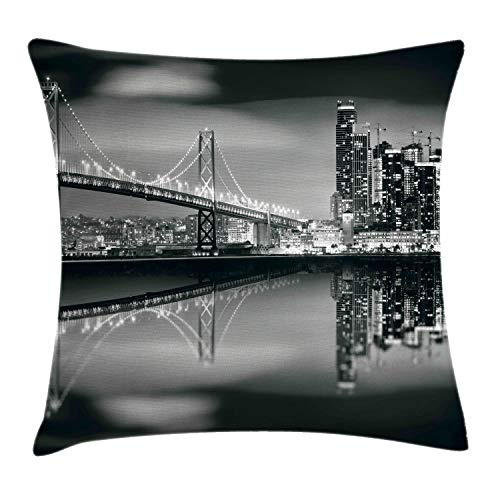 Ambesonne Black and White Throw Pillow Cushion Cover, San Francisco Bay Bridge Metropolis Panorama View with Skyscrapers Print, Decorative Square Accent Pillow Case, 18