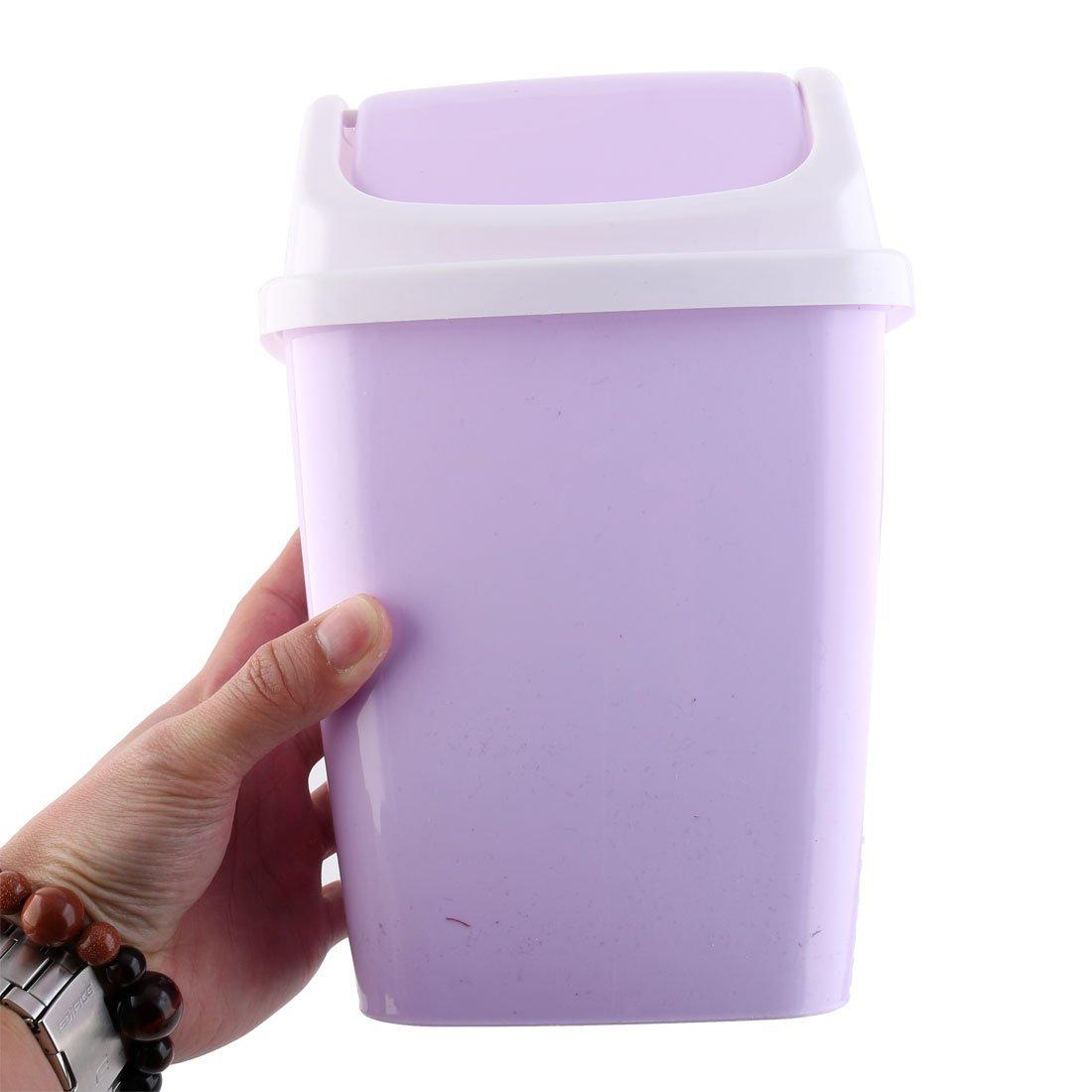 eDealMax plástico Hogar Apartamento La basura de basura cubo de basura de residuos Can 2 PCS purpúreo claro