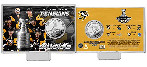 "NHL Pittsburgh Penguins 2016 Stanley Cup Champions Silver Coin Card, 8"" x 4"" x 1"""