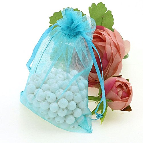 Price comparison product image 100pcs/lot 9x12cm Organza Drawstring Pouches Party Wedding Gift Favor Bag (Lake Blue)