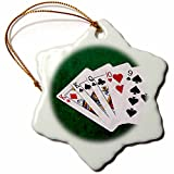 3dRose Alexis Photo-Art - Poker Hands - Poker Hands One Pair, King - 3 inch Snowflake Porcelain Ornament (orn_270574_1)
