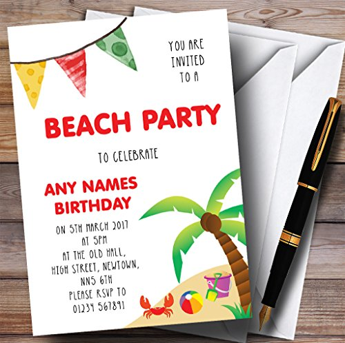 Palm Tree Beach Party Childrens Birthday Party Invitations