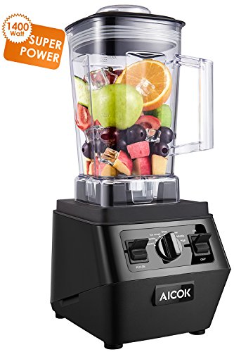 Aicok Smoothie Blender 1400W Professional High Speed Mixer 30,000RPM, with 70oz BPA-Free Tritan Pitcher, Variable Speed Controls, Stainless Steel 6 Pro Blades for Ice Crushing, Black by Aicok