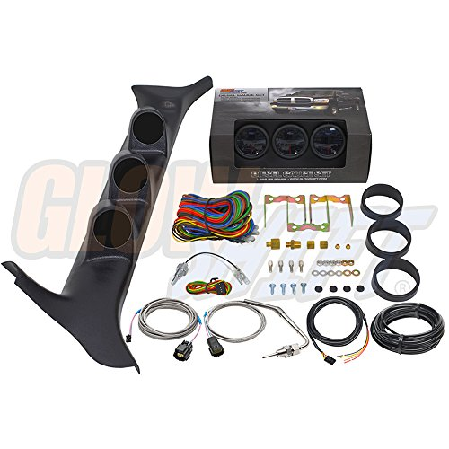 (GlowShift Diesel Gauge Package for 1992-1997 Ford F-Series F-250 F-350 7.3L Power Stroke - Black 7 Color 60 PSI Boost, 1500 F Pyrometer EGT & Transmission Temp Gauges - Black Triple Pillar Pod)
