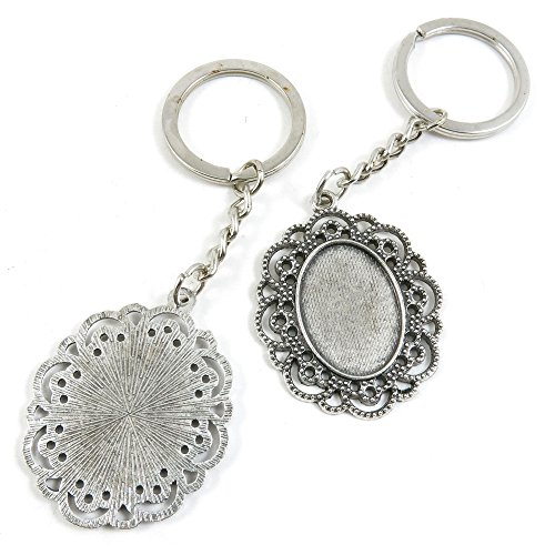 10 PCS Arts Crafts Fashion Jewelry Making Findings Key Ring Chains Tags Clasps Keyring Keychain E1LR6H Oval Cabochon Base Blank 25x18mm