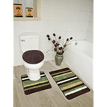Abby 3 Piece Bathroom Rug Set Bath Contour Lid Cover