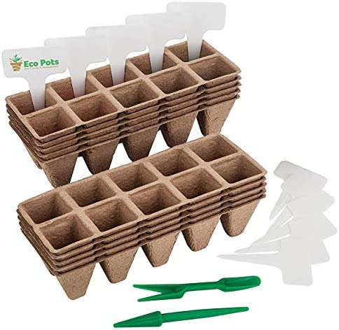 Seed Starter Trays - 10 Pack (10 Cells per Tray) with Bonus 10 Plastic Plant Markers, Organic Planting Pots, Biodegradable Seedling Planting Kit for Indoor & Outdoor Plants