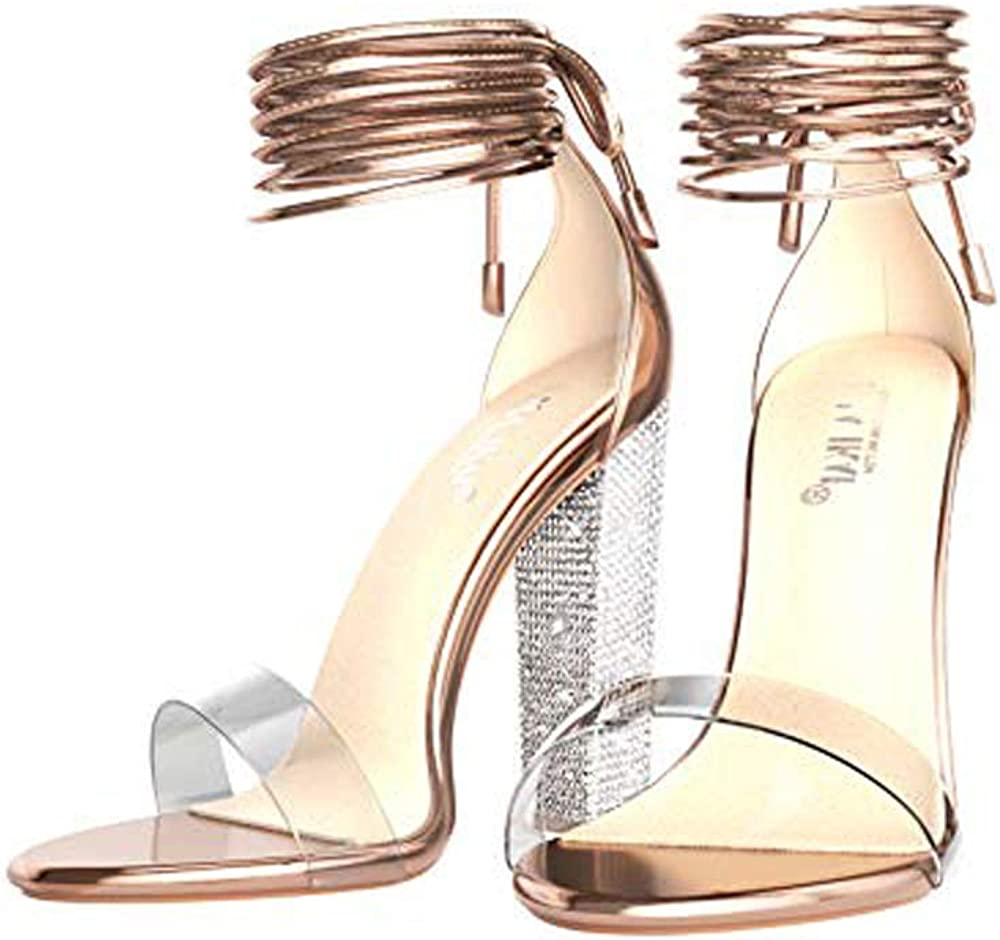 lower price with outlet online special section Amazon.com | LALA IKAI Rose Gold Clear Block Heels Sandals for ...