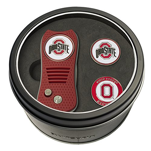 Team Golf NCAA Ohio State Buckeyes Gift Set Switchblade Divot Tool with 3 Double-Sided Magnetic Ball Markers, Patented Single Prong Design, Causes Less Damage to Greens, Switchblade Mechanism