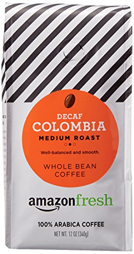 AmazonFresh Decaf Colombia Whole Bean Coffee, Medium Roast, 12 Ounce