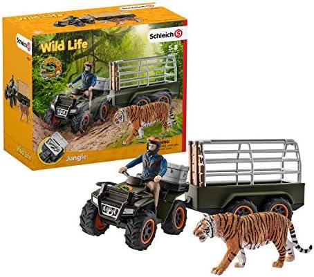 Schleich 42351 Wild Life Spielset - Quad mit Anhänger und Ranger, Spielzeug ab 3 Jahren