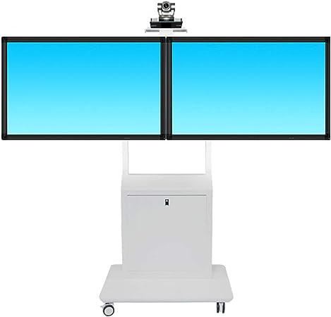 Mobile TV Stand Trolley Cart Doble Pantalla móvil motorizado TV Ascensor Piso Soportes Rolling TV carros Pantalla Plana 40