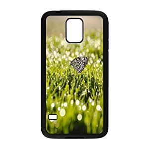 Sexyass Butterfly on Grass Samsung Galaxy S5 Cases Protector for Girls, Luxury Case for Samsung Galaxy S5 [Black]