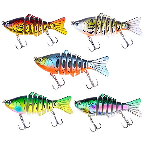 FNAPE Fishing Lures Bass Lures Topwater Lifelike Multi Jointed Swimbaits Trout Artificial Hard Baits CrankBaits Fish Tackle Kits in Freshwater and Saltwater,4Inches / 0.55oz (Combo-D(5PCS))