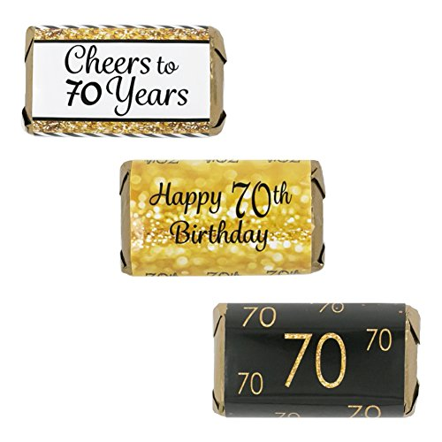 70th Birthday Party Miniatures Candy Bar Wrapper Stickers - Gold and Black (Set of (Party Miniature)