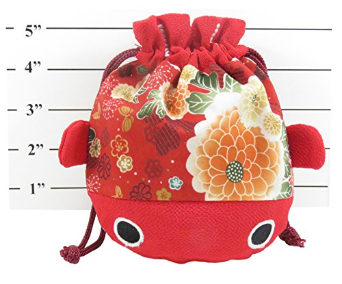 "Cute Japanese Kimono Goldfish Drawstring Purse Pouch Bag 7.5"" x 6.5"" Pink Red"
