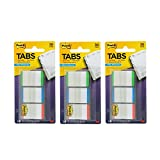 Post-it Tabs with On-the-Go Dispenser, 1-Inch Lined, Green, Blue, and Red, 12-Tabs/Color, 108 tabs/Dispenser