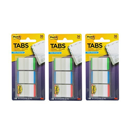 Post-it Tabs with On-The-Go Dispenser, 1-Inch Lined, Green, Blue, and Red, 12-Tabs/Color, 108 -