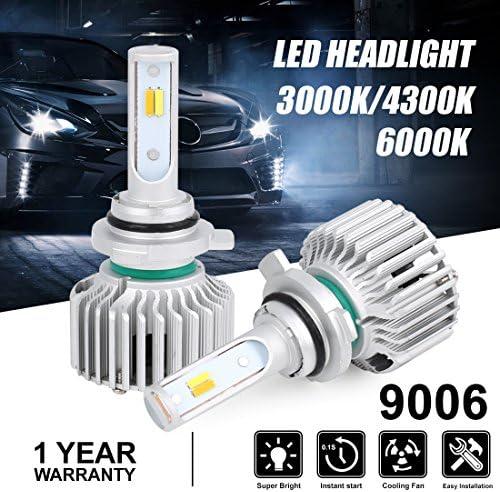uxcell 2 Pcs 9006 28W 6000K 3000K 4300K White Yellow SMD 4 LED Headlight Lamp Bulb Conversion