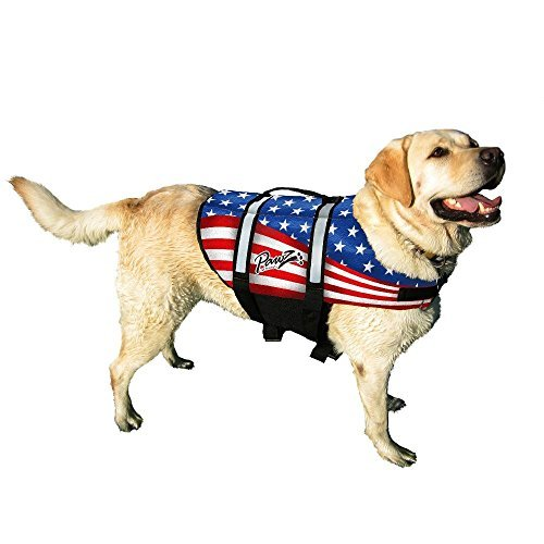 Life Vest for Dogs - Pawz Pet Products American Flag Nylon Dog Life Jacket, X-Large