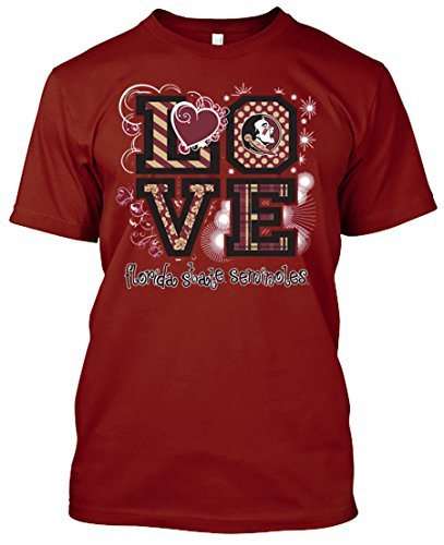 Womens Garnet Shirt (NCAA Love T-shirts - Alabama, Arkansas, Auburn, Clemson, Florida, FSU, Georgia, Kentucky, LSU, Mississippi St., Ole Miss, South Carolina, Tennessee, Texas A&M (Florid St. Seminoles, Large))