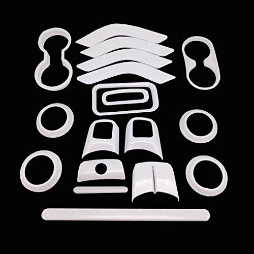 E-cowlboy 18 PCS Full Set Interior Decoration Trim Kit,Interior Door Handle Cover Trim,Copilot Handle Cover Trim,Air Conditioning Vent Cover Trim, For Jeep Wrangler JK JKU 2011-2018 4-door (White)