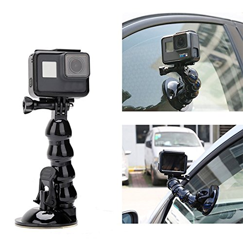 Price comparison product image Jaws Flex Suction Cup Car Mount Holder, iKNOWTECH Flexible Gooseneck Extension with Phone Holder for GoPro Hero 6 5 Black,4 Session,4 Silver,3+,SJ6000,YI,LD6000,iPhone X/8 Plus/7/6,Samsung & more