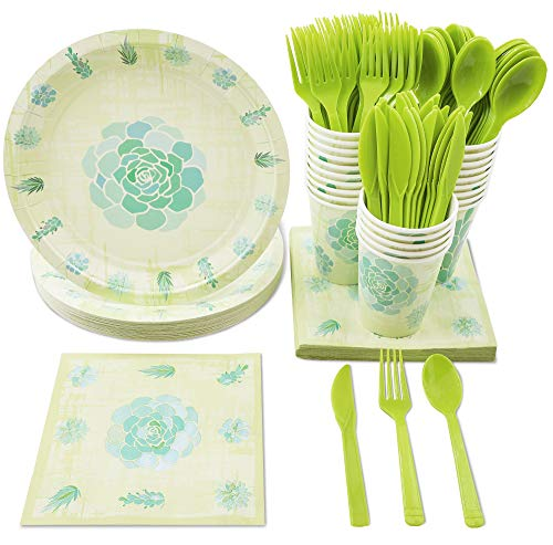 Disposable Dinnerware Set - Serves 24 - Succulent Party Supplies for Picnics, Outdoor Party, Bridal Shower - Includes Plastic Knives, Spoons, Forks, Paper Plates, Napkins, Cups ()