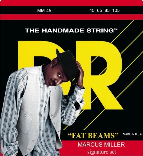 DR Strings Bass Strings Fatbeam, Marcus Miller Signature Stainless Steel Round Core Bass 45-105 (Bass Stainless Steel Signature)